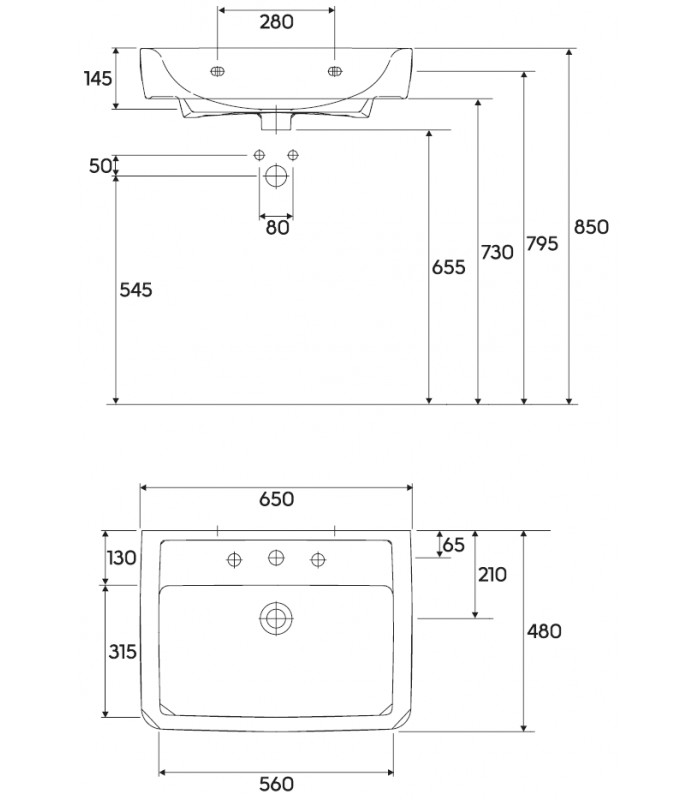 keramag renova nr 1 plan umyvadlo 222265600 koupelna levna cz. Black Bedroom Furniture Sets. Home Design Ideas